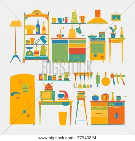 Vector designer - kitchen furniture & kitchen tools