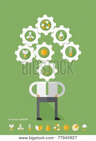 Ecology mechanism concept & icons set