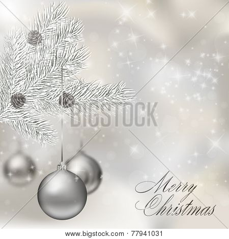 Silver Christmas balls on abstract light grey background. Xmas greeting card. Vector eps10 illustration
