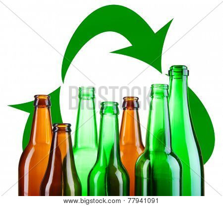 Recycle concept, glass for recycle isolated on white