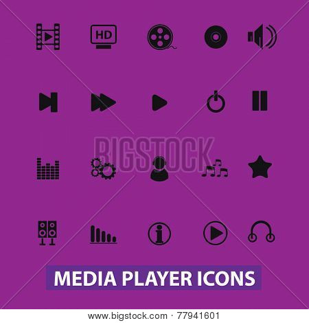 media player, music, audio icons, signs set, vector