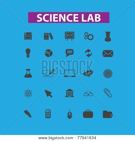 science, lab, education icons, signs set, vector