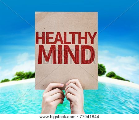 Healthy Mind card with a beach on background