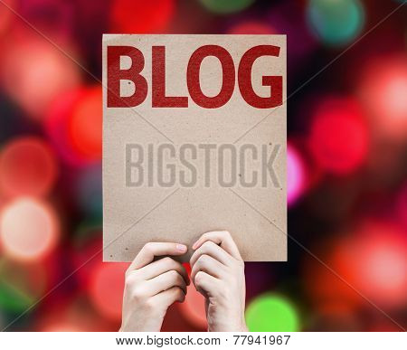 Blog card with colorful background with defocused lights