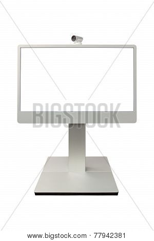teleconference video conference and telepresence camera display isolated on white background