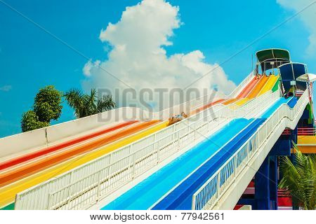 Bangkok, Thailand - November 9: Unidentified People Play Slide At Siam Park City Water Park In Bangk