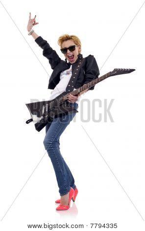 Energic Blond Guitarist