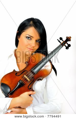 Young Beautiful Woman With Violin