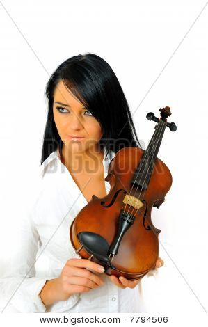Young Beautiful Woman With Violin. Isolated On White Background