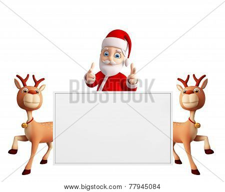 Santa And Reindeer With White Board
