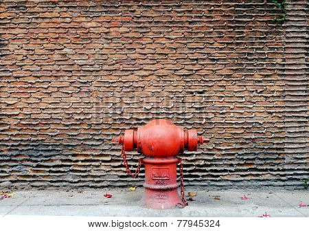 Wall With Red Hydrant