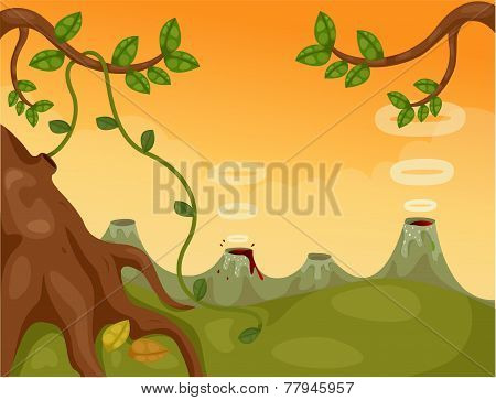 landscape background with volcano