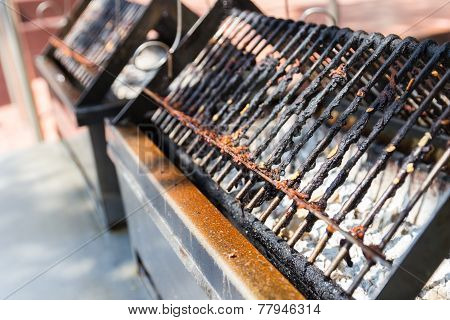 Charcoal Stove And Gridiron For Barbecue Grilling