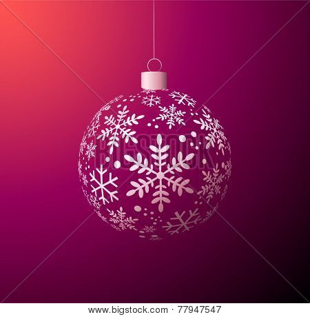 Vector Christmas ball on purple background