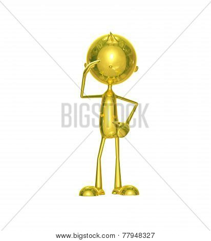 Golden Character With Salute