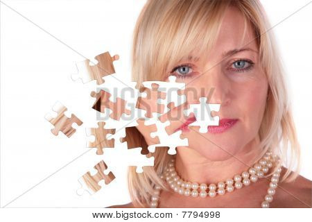 Taking Off Puzzle From Face Of Middleaged Woman, Collage