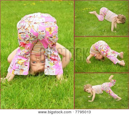 Many Pictures Of Girl In On Grass, Collage