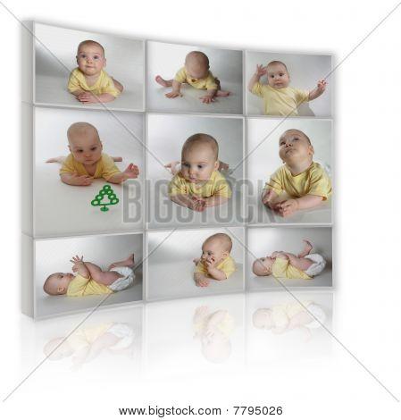 Colagem sobre fundo branco como Tv de muitas fotos de criança