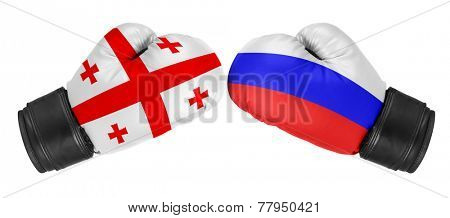 Russia vs Georgia. Boxing gloves with Georgia and Russia flag. Isolated on white.