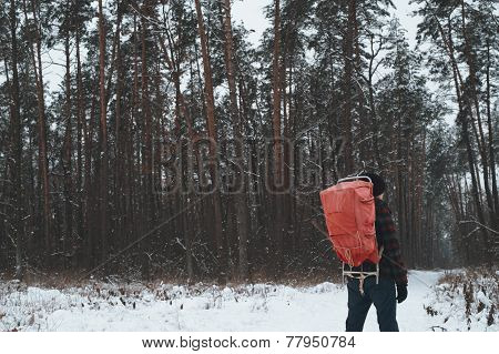 man in the winter forest