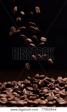 High contrast coffee beans.