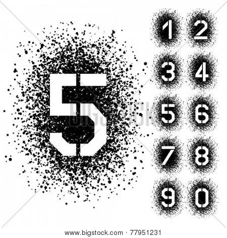 vector spray stencil angular font numbers