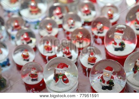 Snow Globes With Santa Claus As Christmas Decoration