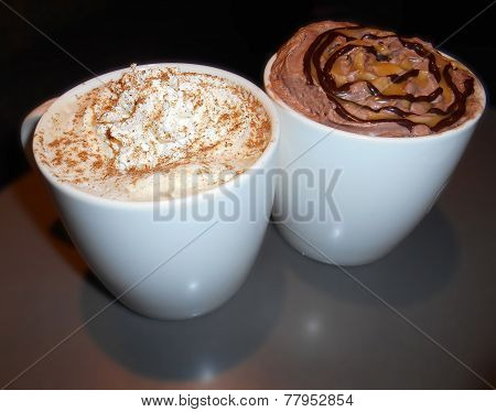 Latte coffee and hot chocolate