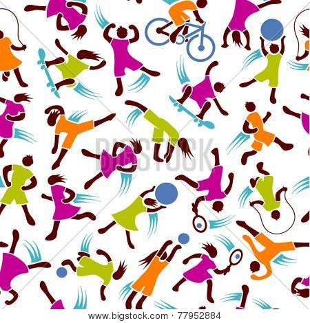 youth fitness exercise active figures seamless pattern