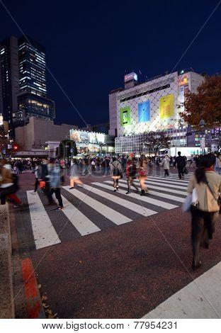 Tokyo, Japan - November 28, 2013: Pedestrians At The Famed Crossing Of Shibuya District