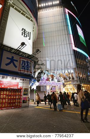 Tokyo, Japan - November 28, 2013: Tourist Visit Shibuya District.