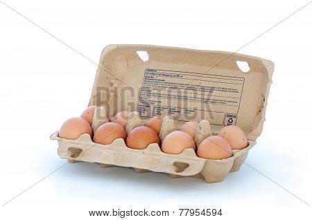 Carton Filled With Ten Eggs