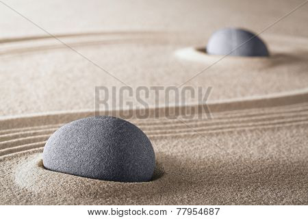 purity zen meditation garden round stones and lines in sand for meditation relaxation harmony and spirituality