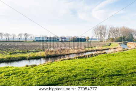 Meandering River In A Rural Landscape