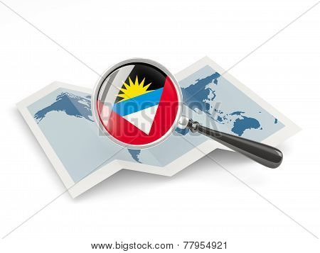 Magnified Flag Of Antigua And Barbuda With Map