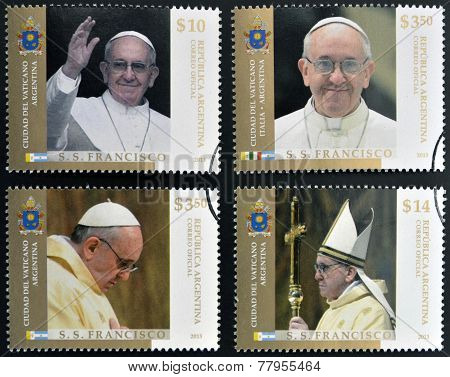ARGENTINA - CIRCA 2013: stamps printed in Argentina shows pope Francis I circa 2013