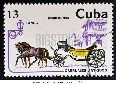 CUBA - CIRCA 1981: A stamp printed in Cuba dedicated to antique carriages shows Lando circa 1981