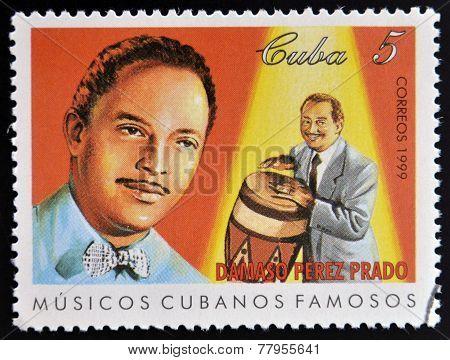 CUBA - CIRCA 1999: A stamp printed in cuba dedicated to famous Cuban musicians shows Damaso Perez