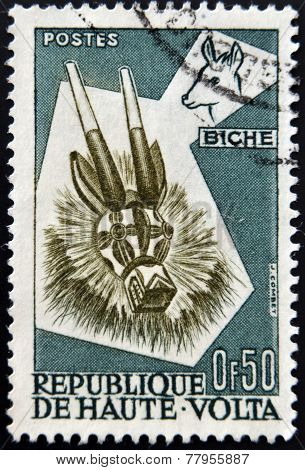 BURKINA FASO - CIRCA 1960: A stamp printed in Burkina Faso shows mask circa 1960