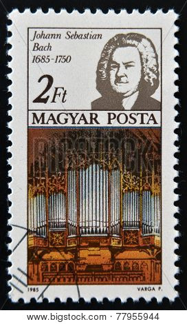 HUNGARY - CIRCA 1985: A stamp printed in Hungary shows Johann Sebastian Bach