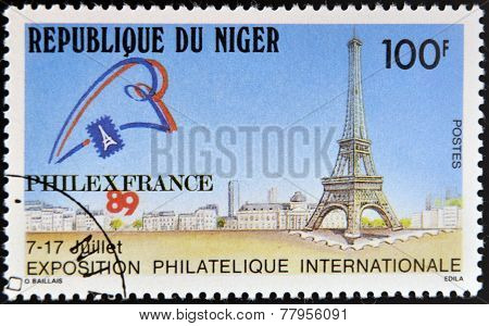 NIGER - CIRCA 1989: A stamp printed in Niger dedicated to International Philatelic Exhibition