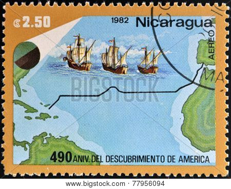 NICARAGUA - CIRCA 1982: A stamp printed in Nicaragua dedicated to discovery of America