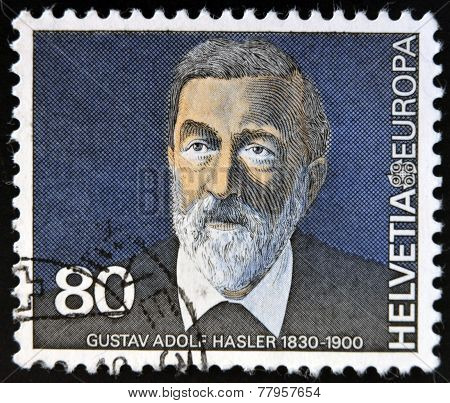 SWITZERLAND - CIRCA 1980: A stamp printed in Switzerland shows Gustav Adolf Hasler circa 1980