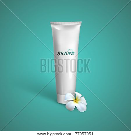 White tube mock-up for cream, tooth paste or gel with frangipani exotic flower. Vector packaging ill