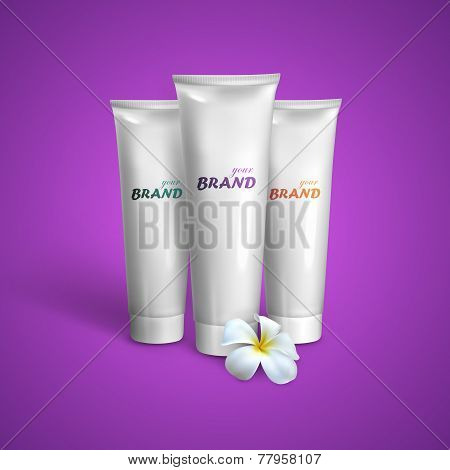 White tubes mock-up for cream, tooth paste or gel with frangipani exotic flower. Vector packaging il