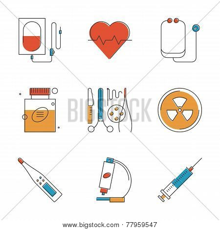 Medical And Healthcare Line Icons Set