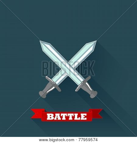 vector illustration with crossing swords in flat style