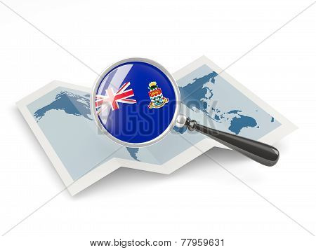 Magnified Flag Of Cayman Islands With Map