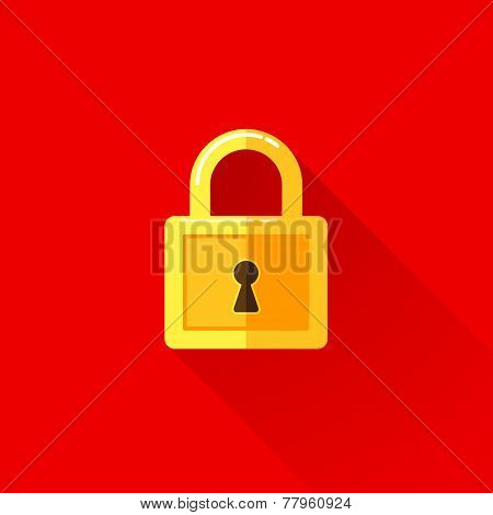 vintage illustration of a lock in flat style with long shadow