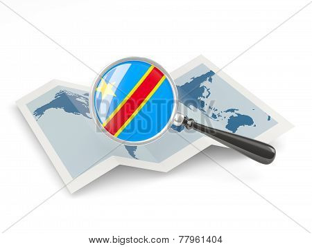 Magnified Flag Of Democratic Republic Of The Congo With Map
